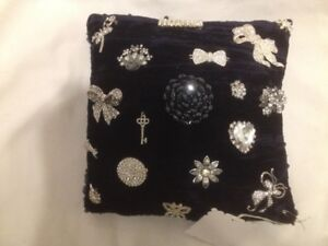 New Navy Antique Velvet Pillow With Vintage Rhinestone Brooches