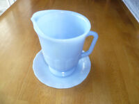 Blue  Delphite Pyrex  Creamer   and  Saucer