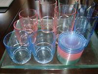 Tupperware Patio Glasses complete with tray