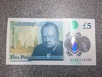 New five pound note AA serial number