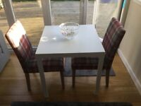 Two NEXT tartan style fabric chairs + ikea white square table 80cm sq