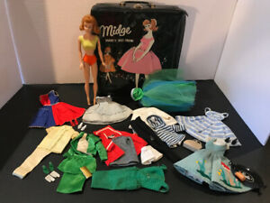 Vintage Barbie's best friend Midge with case & clothes