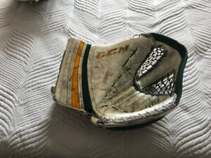 CCM Goalie Trapper white, gold, and green