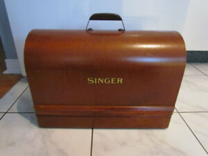 COFFRE, PORTE MACHINE A COUDRE SINGER, ANTIQUE