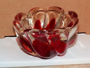 Vintage Mid Century Chunky Glass Ashtray Red and Clear