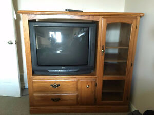 "FREE SOLID OAK ENTERTAINMENT UNIT WITH 36"" TUBE TV"