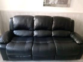 Black Leather Recliner Sofa Set (3,2 &1)