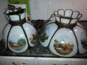Antique lampe currier and ives