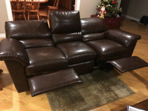 Leather reclining couch-- $800.00