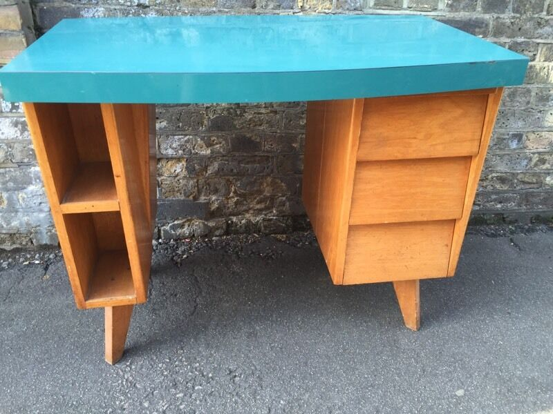 Vintage Retro 50s 60s Mid Century Wooden School Office Computer Desk Shabby Chic Formica Top
