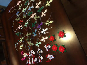 Crosses and Xmas tree decorations