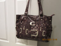 """""""patent leather look"""" purse (brown)"""