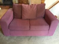 Two 2 Seater plum coloured sofas