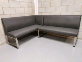Furniture Village Cocoon Grey Faux Leather Left Corner Dining Bench