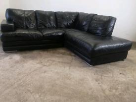 Dfs black leather corner sofa couch suite 🚚🚚