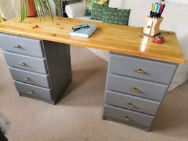 Grey and Wood Desk. Refurbished.