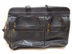 BLACK LEATHER SOFT-SIDED BRIEFCASE AND/OR LAPTOP CASE - MINT
