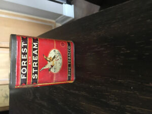 Vintage forest and steam tobacco tin