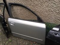 Audi A4 b6 2004 silver driver door , window frame with glass