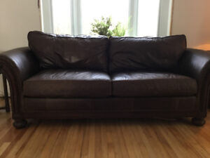 High quality Italian leather couch and matching love seat