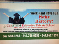 High School credits-Ministry listed, All Mathematics,Science,Eng