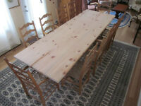 NON PEINT TABLE DE CUISINE EN BOIS MASSIF-DINING TABLE NO STAIN