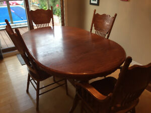 Oak Dining Table 6 Chairs And China Cabinet