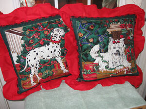Pr. FLASHY FRILLY DOG CUSHIONS with REMOVABLE COVERS