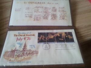 USA bicentennial stamp set. First day of Issue