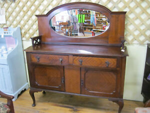 Unique Early Sideboard Buffet w/ Mirror London Ontario image 8