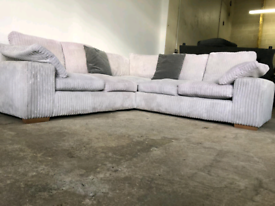 Large grey cord corner sofa couch suite 🚚🚚