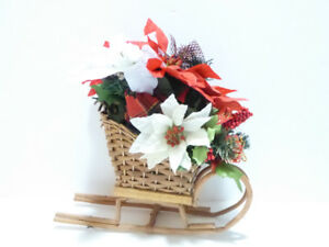 CHRISTMAS WOODEN BASKET WEAVE SLEIGH WITH DECORATIONS
