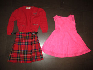 Red Sweater with Scotish Kilt and Pink Dress Size 3/4 and 4
