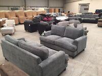 Brand new designer grey 3 + 2 seater sofa suite