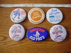 6 Sports Collectible Buttons Lot # 9