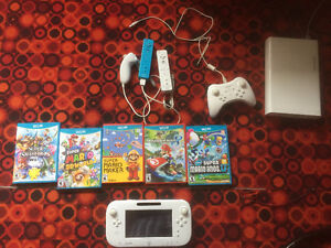 Wii U system with controllers and games