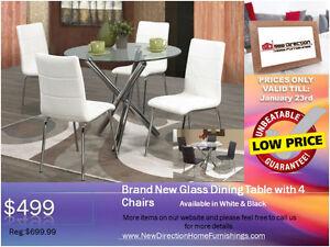 ◆Brand New 5pcs Stylish Metal Frame Dining Set W/Glass Top@NEWD