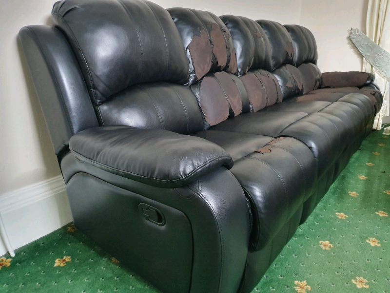 Pleasant Black Leather Sofa In Southside Glasgow Gumtree Home Interior And Landscaping Oversignezvosmurscom