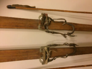 Antique wooden skis