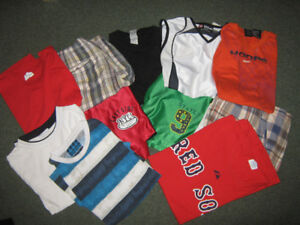 Assorted t-shirts and shorts size 10/12-x large $3-4 each