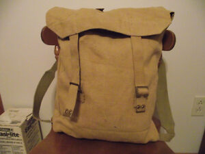 Vintage Canvas Backpack with Brass Fittings.