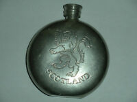 Pewter sporan hip flask engraved with rampant Lion and Scotland
