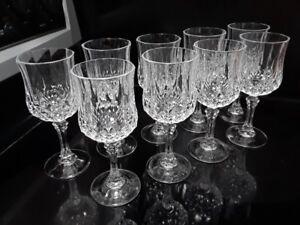 Set de 9 Coupes à vin blanc cristal d'Arques Longchamp (062)