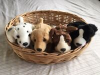 Four Toy Puppies in Basket