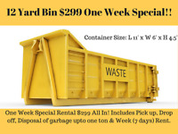 Dumpster Bins Rental only for $299 All In! Discounted price!!!
