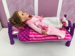 Two journey girl dolls for sale with set of cloths and bed