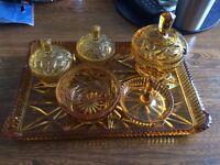 Vintage Amber cut glass bedroom set