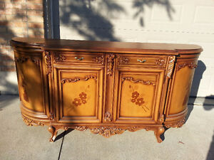 Two Piece Wood-crafted/ hand painted Hutch and Display Cabinet Windsor Region Ontario image 1