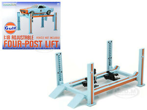 FOUR POST LIFT GULF OIL 1/18 SCALE RAISES & LOWERS GREENLIGHT 13503