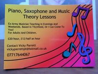 Piano, saxophone, flute and music theory lessons